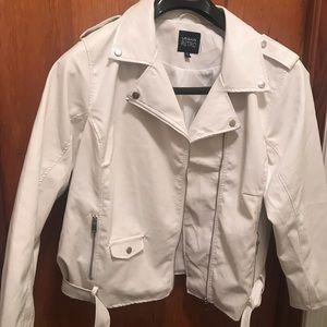 Jackets & Blazers - White to Off White Faux Leather Jacket